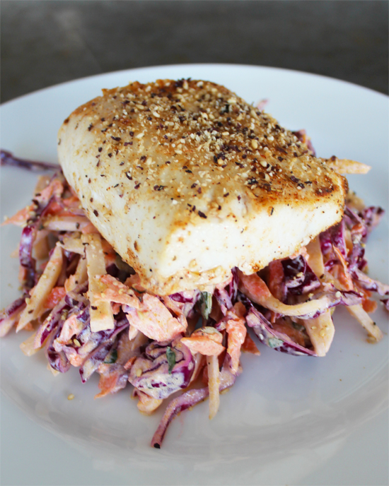 Broiled Mahi Mahi with Black Radish Slaw