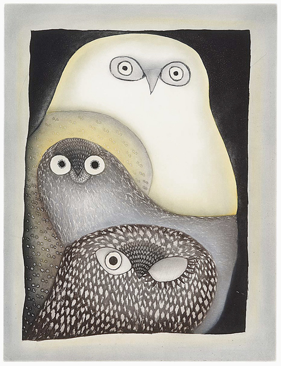 Ningeokuluk Teevee 'Owls in Moonlight' Etching & Aquatint 105.3 x 80