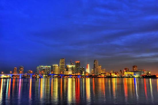 Night View of Miami's Brickell Skyline