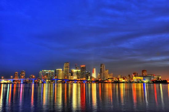Night View of Miami's Brickell Skyline